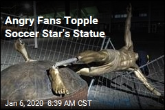 Angry Fans Topple Soccer Star's Statue