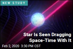 Star Is Seen Dragging Space-Time With It