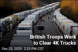 British Troops Work to Clear 4K Trucks