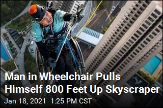 Man in Wheelchair Climbs 800 Feet Up Skyscraper