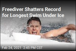 Freediver in Trunks Sets New Under-Ice Swim Record