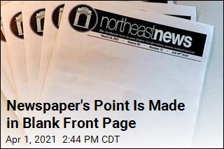 Newspaper's Point Is Made in Blank Front Page