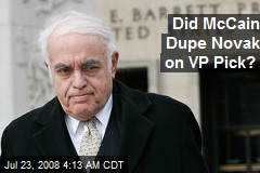 Did McCain Dupe Novak on VP Pick?
