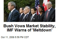 Bush Vows Market Stability, IMF Warns of 'Meltdown'