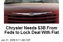 Chrysler Needs $3B From Feds to Lock Deal With Fiat