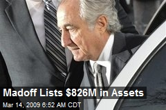 Madoff Lists $826M in Assets