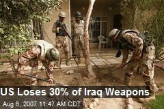 US Loses 30% of Iraq Weapons
