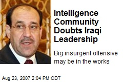 Intelligence Community Doubts Iraqi Leadership