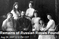 Remains of Russian Royals Found