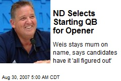 ND Selects Starting QB for Opener