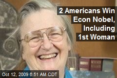 2 Americans Win Econ Nobel, Including 1st Woman