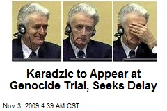 Karadzic to Appear at Genocide Trial, Seeks Delay