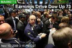 Earnings Drive Dow Up 73