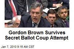 Gordon Brown Survives Secret Ballot Coup Attempt