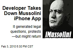 Developer Takes Down Mussolini iPhone App