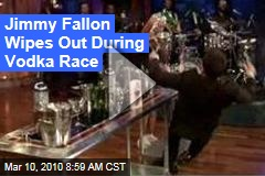 Jimmy Fallon Wipes Out During Vodka Race