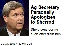 Ag Secretary Personally Apologizes to Sherrod